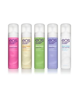 EOS Moisturizing Shave Cream - Thanks to soothing aloe, oats, and moisturizing shea butter, EOS Ultra Moisturizing Shave Cream prevents razor burn and calms irritation. It also contains nourishing antioxidants like vitamins E and C. Available in five scents, plus a fragrance-free version.