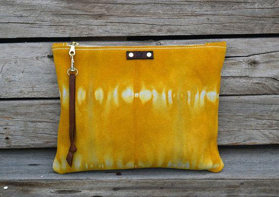 Zipper Clutch / Foldover Wristlet / Tie Dye Leather by FeralEmpire