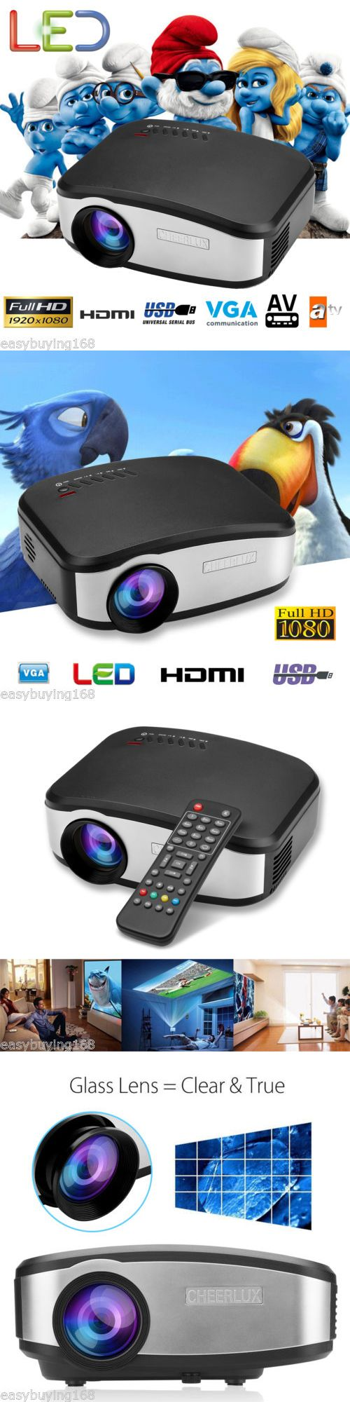 Home Theater Projectors: Led Lcd Hd 1080P 3D Projector Multimedia Home Theater Cinema Hdmi Usb Vga Av Atv -> BUY IT NOW ONLY: $65.99 on eBay!