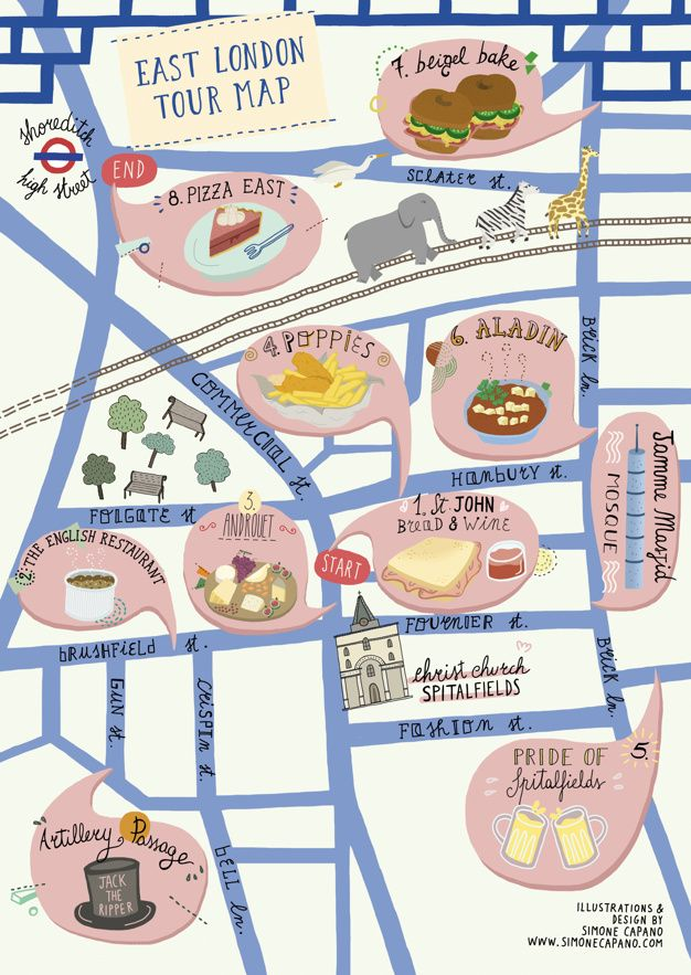 a food tour map for east london mapping london highlighting the best london maps