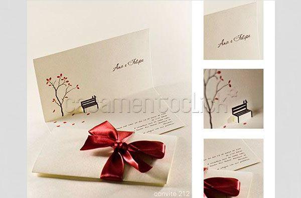 Com uma delicada ilustração que deixa o convite de casamento completamente romântico. Da Laviva Convites.