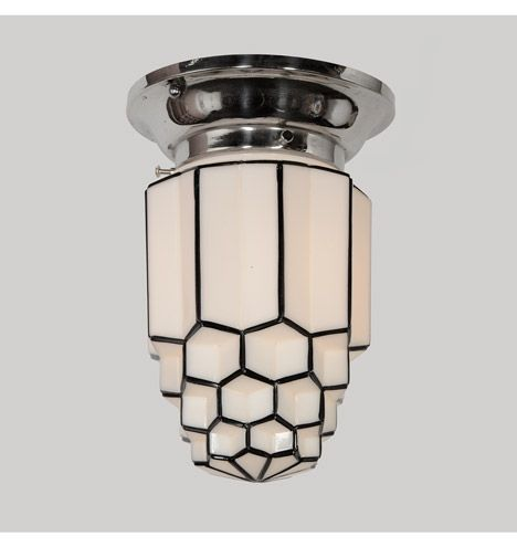 Art Deco Flush Mount w/ Honeycomb Shade, c1932
