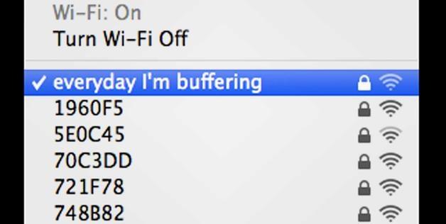 'everyday I'm buffering' Wi-Fi name (© fatal_pixels via Reddit)