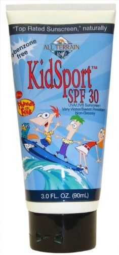 All Terrain KidSport SPF30 Oxybenzone-Free Natural Sunscreen Lotion- Disney Phineas and Ferb (3-Ounce) by All Terrain. $8.96. Very water/sweat resistant; Proven effective up to 80 minutes in water. SPF 30; Broad Spectrum UVA/UVB protection. No eye sting and non-greasy. Oxybenzone-free, paraben-free, fragrance-free; Safe for sensitive skin. Active ingredient: 16% Zinc Oxide. Non-nano, transparent and non-whitening. All Terrain's award-winning KidSport sunscreen lotion...