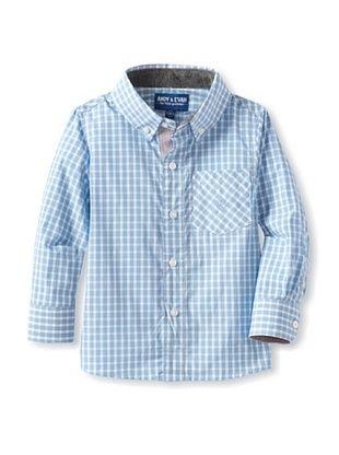 76% OFF Andy & Evan Boy's 2-7 Chubby Checker Shirt (Turquoise/Aqua)