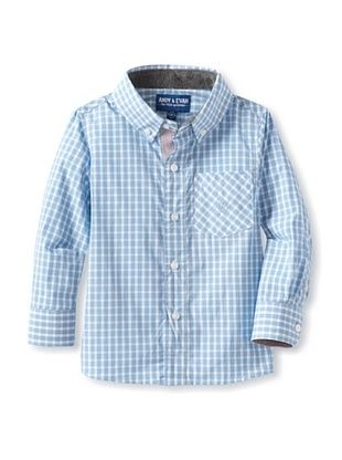 76% OFF Andy & Evan Boy's 2-7 Chubby Checker Shirt (Turquoise/Aqua)