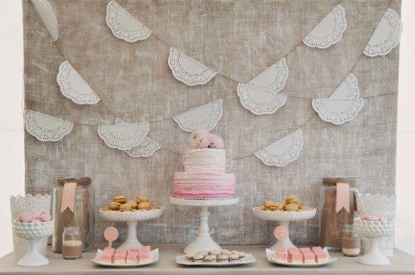DIY decoración, guirnalda de blondas de papel para el candy bar - en el blog de Tu día Con Amor -  http://tudiaconamor.blogspot.com.es/2014/07/diy-boda-manualidades-con-blondas.html