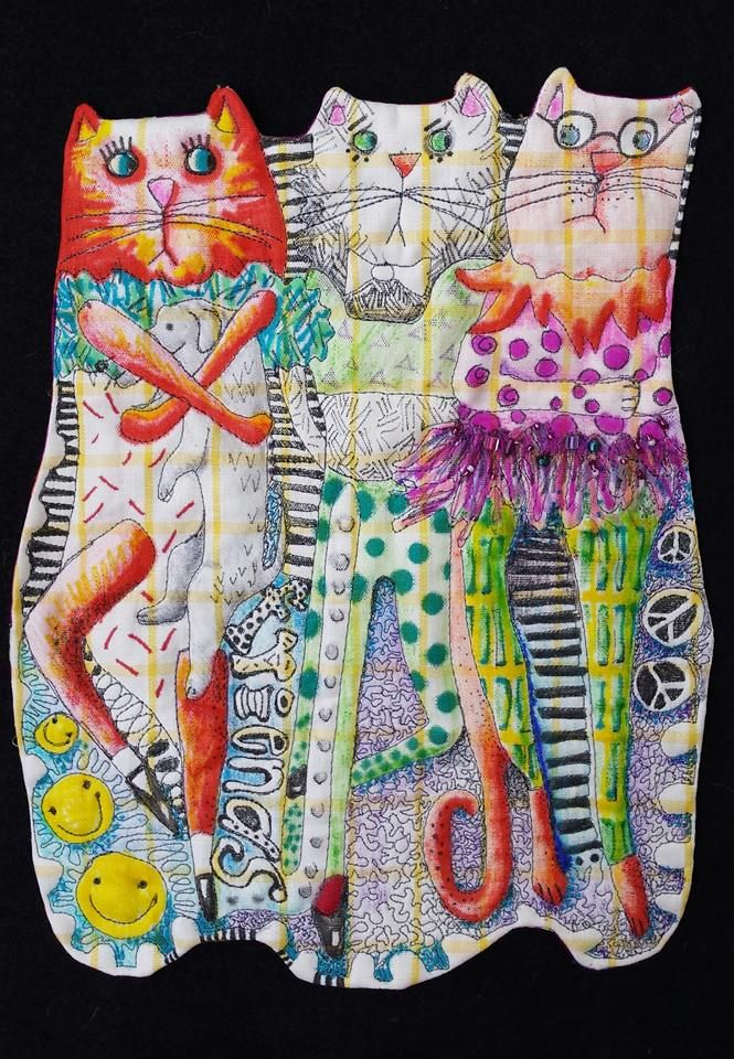 """Cindi GoodwinQuiltart July 24 · ..."""" Friends come in many colors and sizes.""""..////9""""×12""""...fmq...embellished...painted"""