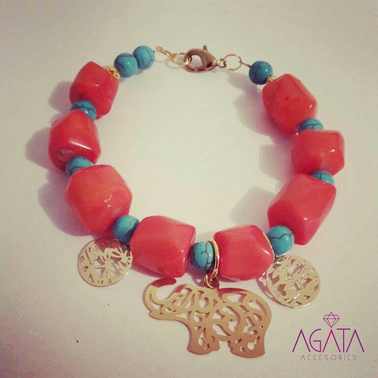 Coral and turquoise bracelet. Elephant and libelule pendants