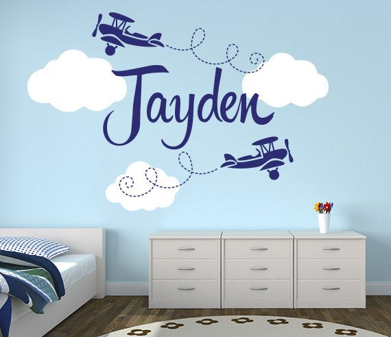 Airplanes name nursery wall decal custom airplane name wall decor for boy by lovelydecals