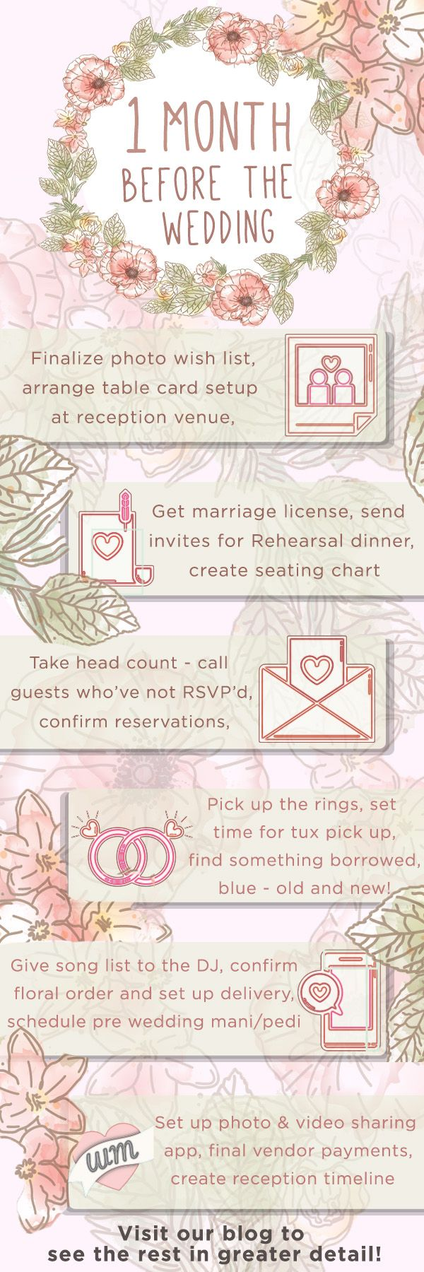 One month separates you from 'happily ever after' - can you believe it?  We've put together a checklist to keep you on track during this final wedding planning stretch!