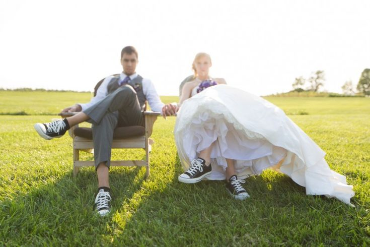 Bridesmaids where converse in this rustic real wedding. | Brideside