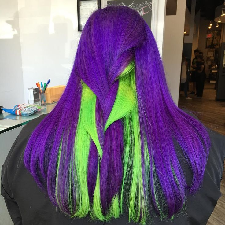 Violet and neon green hair