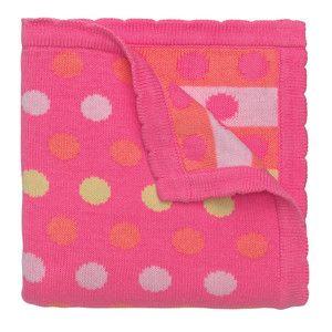 Raspberry spot knitted baby blanket