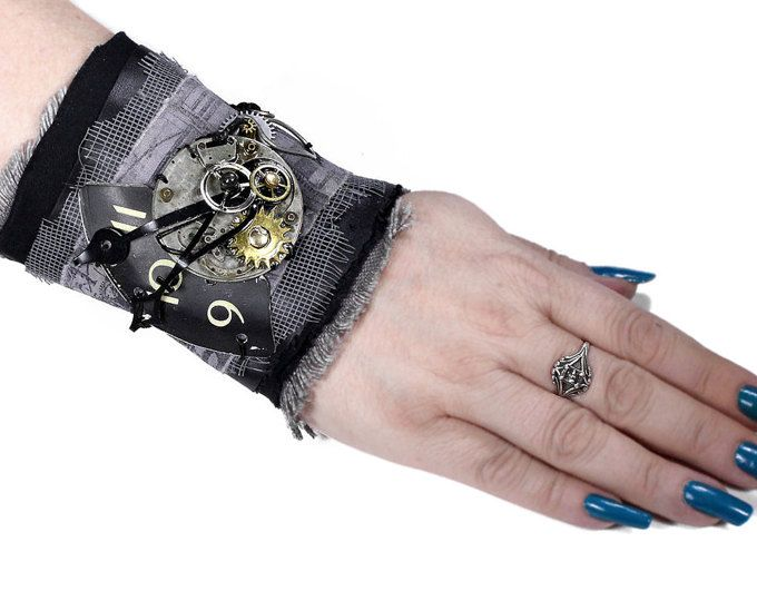Steampunk Clothing Shirt Garters Mens Sleeve Cuff Black VELVET Leather Coins Arm Band BURNING MAN Harley Rocker Punk Cuff - by edmdesigns n1o04l2VAh