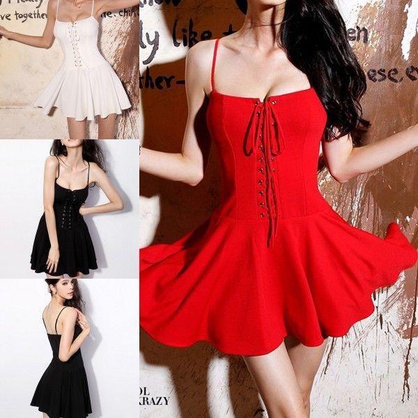 Женщины Леди Узелок Спагетти ремень Бюстье Клубные наряды мини платье US $20.99