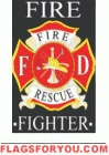 applique Fire Fighter Garden Flag - 2 left