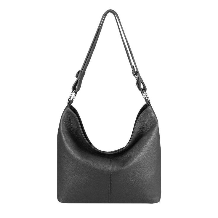 ITAL DAMEN LEDER TASCHE Shopper Schultertasche Umhängetasche Hobo Bag Handtasche Schwarz