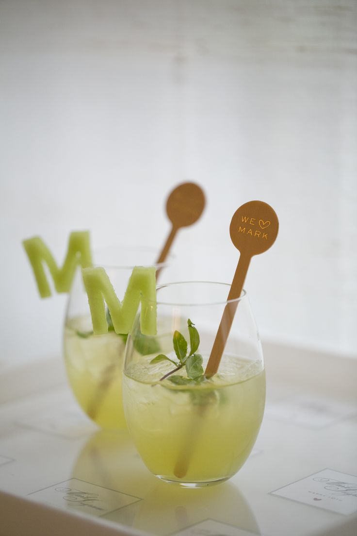 Love the monogram garnish (could be a number for birthday anniversay etc) Darcy Miller for Mark Ingram Atelier 10th anniversary party, inspired cocktails by Peter Callahan