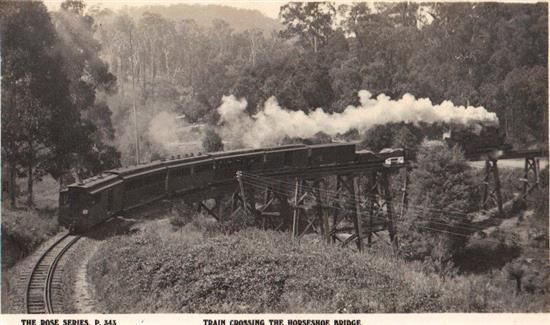 Rose Series Photograph/postcard of Puffing Billy crossing the trestle bridge over Belgrave/Gembrook Road, Selby Victoria Australia  circa 1940 - 1950