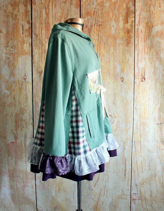 Womens, upcycled, boho chic, reconstructed, loose fitting, shabby chic hoodie in size XL to plus size 1X. One-Of-A-Kind, Eco-Friendly,
