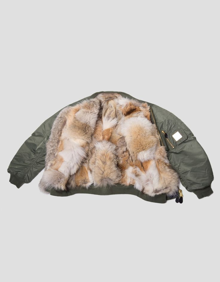 COYOTE - Vintage Fur Bomber Jacket olive green (on request) — EPOQUE