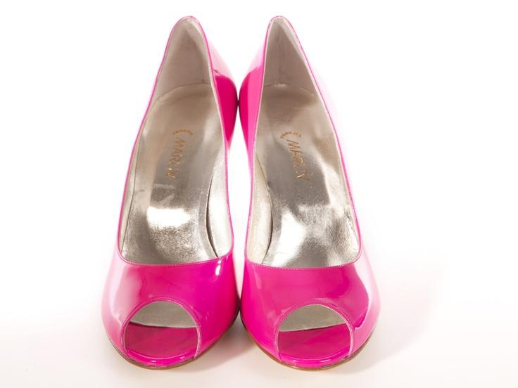 Fluo pink open toe decolletes