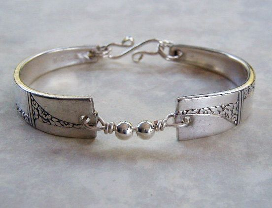 Spoon Bracelet Recycled Silverware Jewelry Caprice Sterling Beads Made to Order. $28.00, via Etsy.