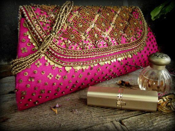 Clutch Purse Vintage Magenta Indian Gold Brass Beaded Silk