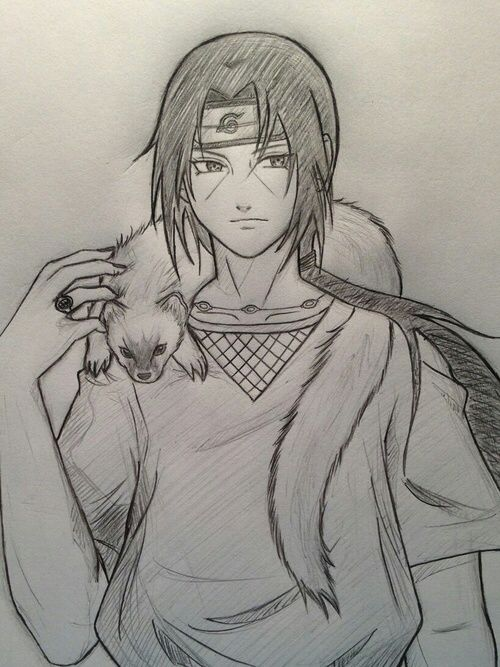 Itachi wearing a weasel as a scarf xD because his name means weasel