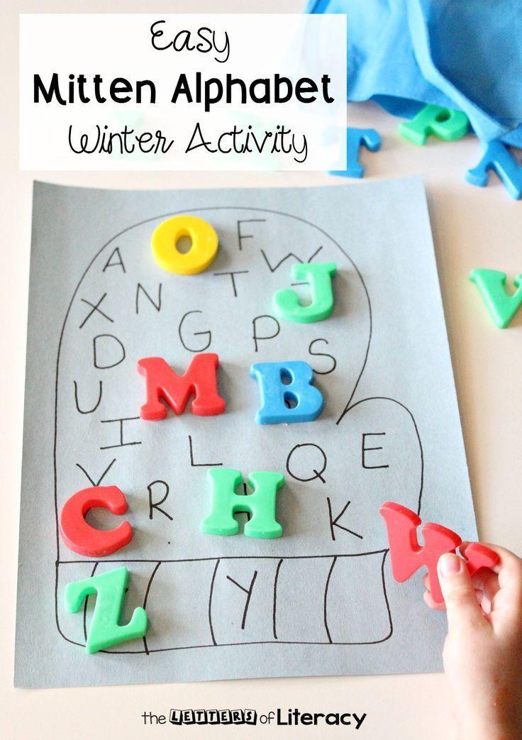 Make mitten alphabet poster for a fun matching game!