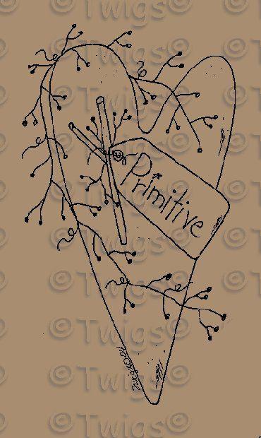 Primitive Snowman Patterns   Primitive Patterns - Stitcheries - Hearts and Stars - Primitive Heart ...