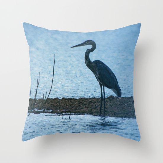 Blue Heron Throw Pillows : Great Blue Heron Fishing Throw Pillow Products, Fishing and Herons