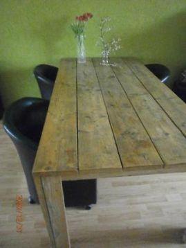 ≥ Grote steigerhouten tafel met 4 fauteuils op wielen - Tafels | Eettafels - Marktplaats.nl Tafel €200