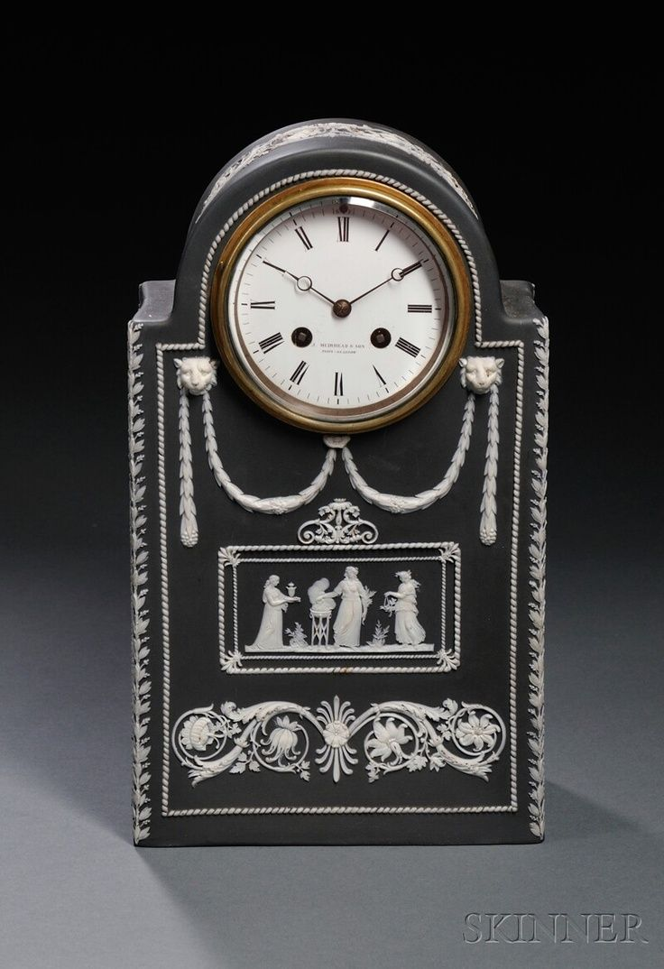Wedgwood Black Jasper Dip Mantel Clock, England, c. 1900,