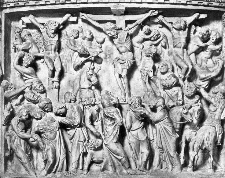 Giovanni Pisano's wonderfully executed depiction of the Crucifixion is located in the baptistery of the Pisa Cathedral (Duomo di Pisa) in Italy. Christ is centrally featured in the relief, and there is an abundance of mourners surrounding him. The physicality of the relief is striking, and there is a certain rigidity of the marble scene that does not yet resemble the exaggeration of later Gothic art.
