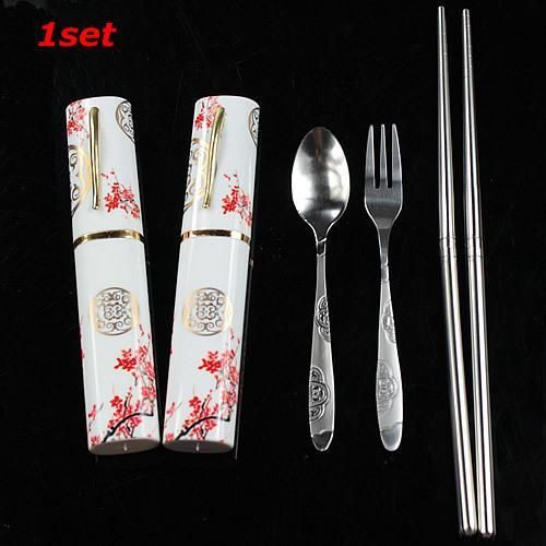 Arrive China Style 3in1 Stainless Steel Tableware Set Travel Outdoor Fork Set