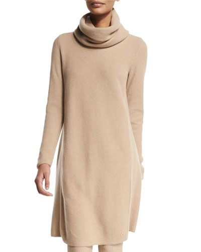 B348V Loro Piana Long-Sleeve Cashmere Sweaterdress, Golden Shade Melange