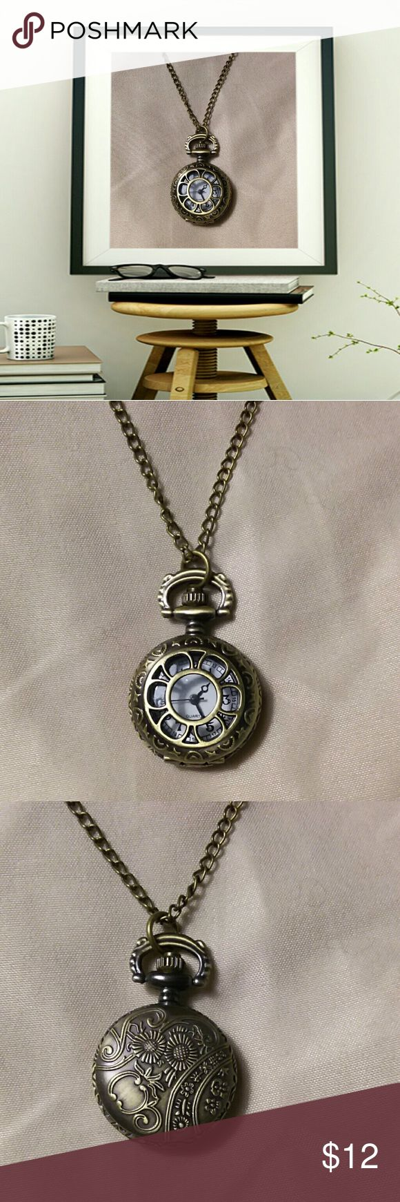 "Bronze quartz pocket watch pendant chain necklace Vintage bronze quartz pocket watch pendant chain necklace.  30"" chain.  Battery has died, in the process of putting a new one in. Will be back up for sell soon. New. Jewelry Necklaces"