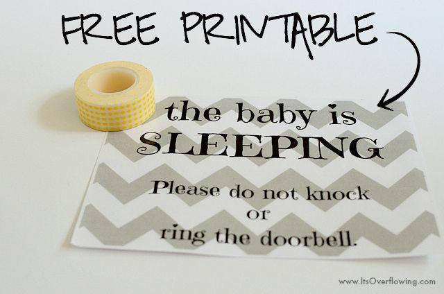 Baby Sleeping Sign – Free Printable