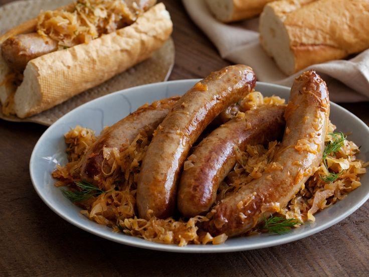 Bratwurst Stewed with Sauerkraut Recipe : Michael Symon : Food Network - FoodNetwork.com