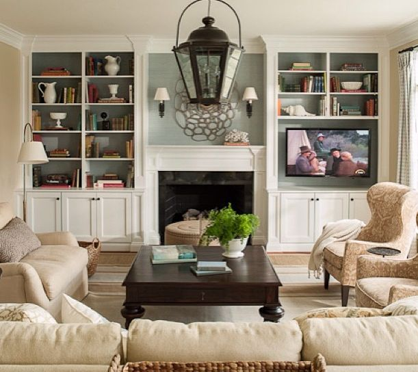Family Room: Fireplace U0026 TV U0026 Built In Shelving | Momu0027s Kitchen Ideas |  Pinterest | Living Rooms, Palladian Blue And Room.