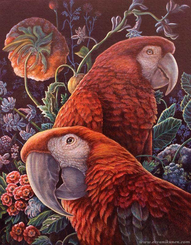 'Parrot Garden' by Eeva Nikunen. Oil on Belgian linen canvas board.