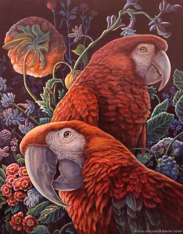 'Parrot Garden' by Eeva Nikunen. Oil on Belgian linen canvas board.