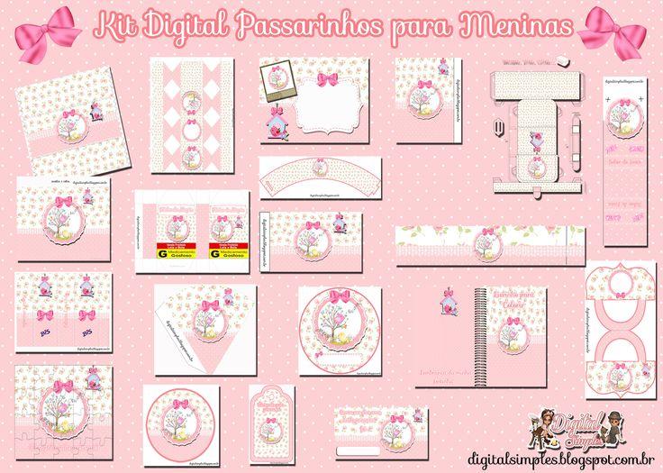 "Convites Digitais Simples: Kit de Personalizados Tema ""Passarinhos"" para Meni..."