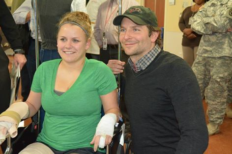 #SoldiersMagazine ..... Bradley Cooper visits with a burn patient in the Institute of Surgical Research Burn Center rehabilitation gym at Brooke Army Medical Center, San Antonio, Texas. Cooper met with patients and staff and hosted an early viewing of his new movie American Sniper, about Navy SEAL Chris Kyle.   (U.S. Army photo by Robert Shields, Brooke Army Medical Center Public Affairs)