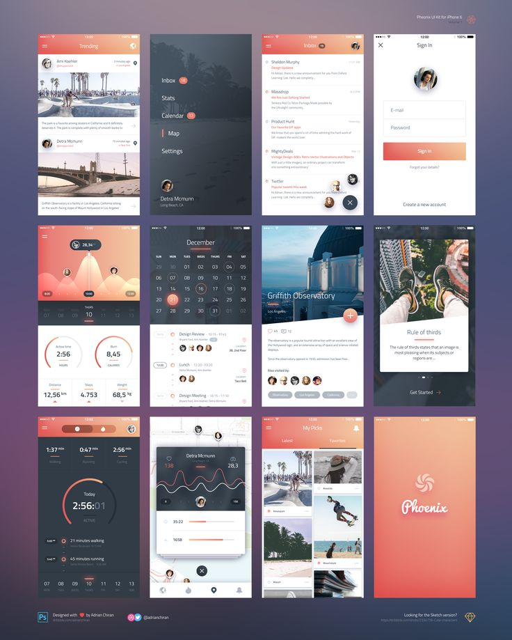 Phoenix Ui kit for iPhone 6 / Free PSD & Sketch | uihive