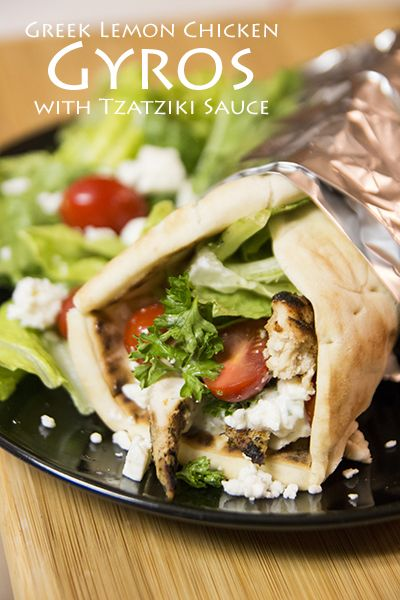 Homemade Greek Lemon Chicken Gyros with Fresh Tzatziki Sauce. These are so healthy and easy to make. Your family will love them! #dinner #Greek #Recipe