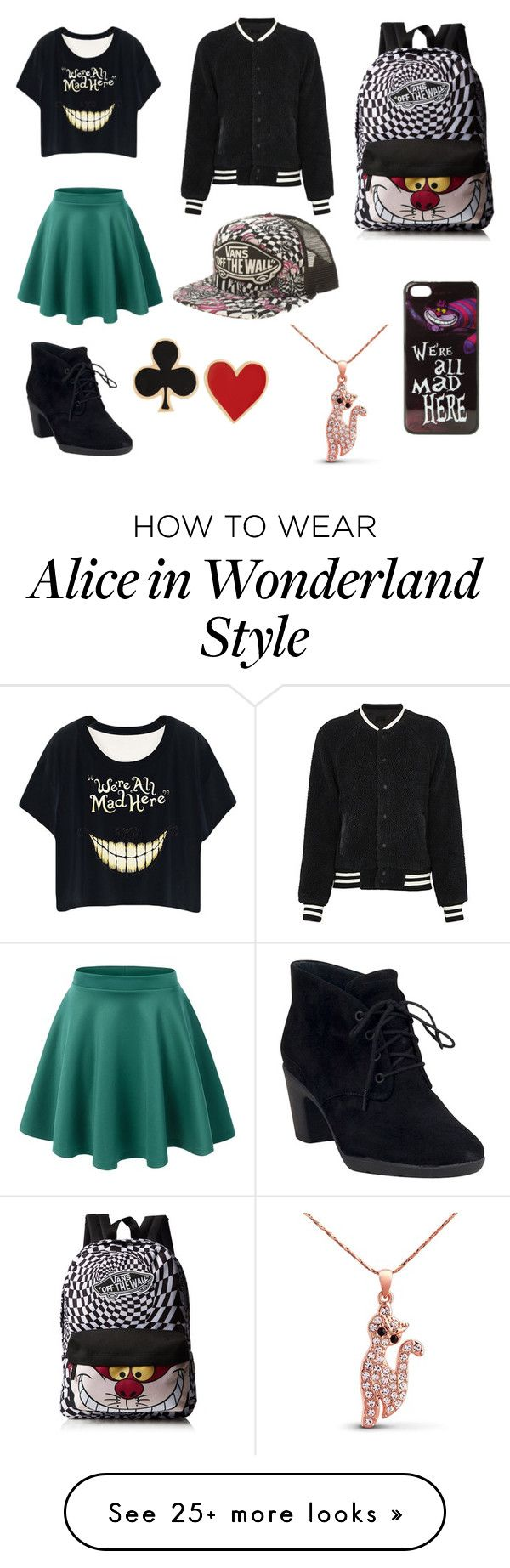 """Wonderland Fan"" by pinktutu2002 on Polyvore featuring LE3NO, Clarks, Essentiel, Vans, Disney and Alison Lou"