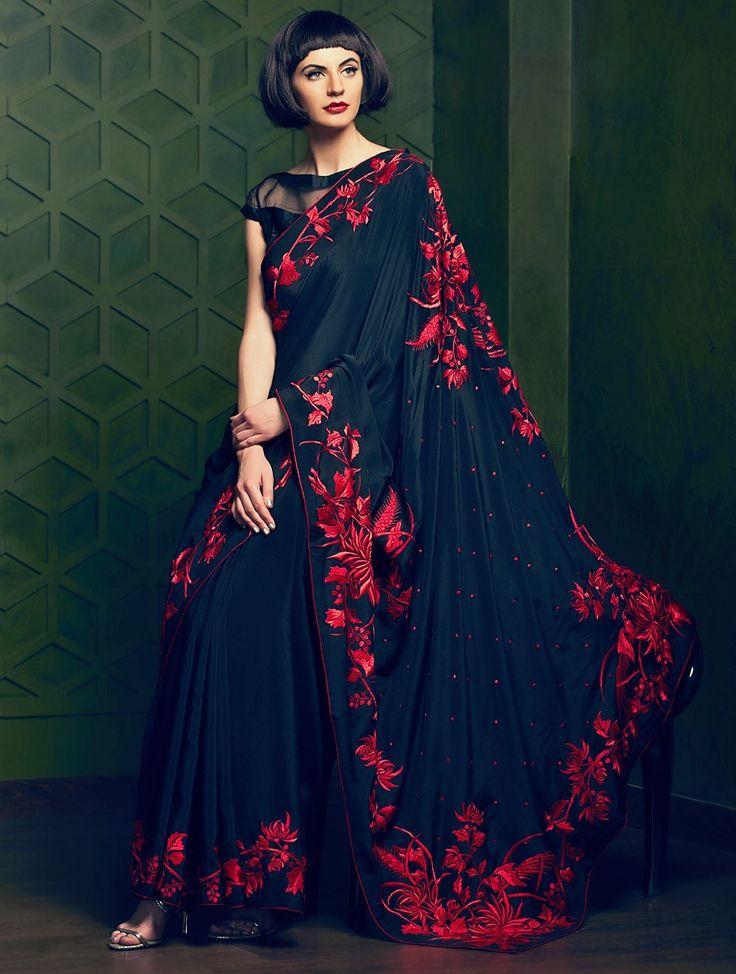 Black-Red Parsi Gara Crepe Silk Jacquard Saree by Gara Grace at Jaypore